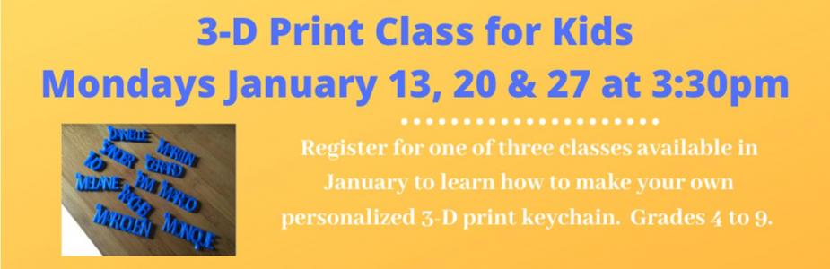 3-D Print Class for Kids